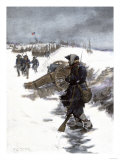 Valley Forge Soldier on Picket Duty in the Snow  Awaiting His Relief Shift  American Revolution