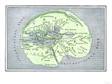 Map of the Flat Earth According to Herodotus, Ancient Greek Historian Giclée