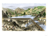 River Operations at Murderer's Bar during the California Gold Rush  c1850
