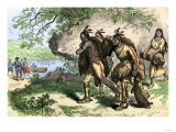 Native Americans Bringing Beaver Pelts to White Traders