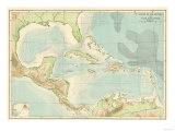 Chart of the West Indies Sea Depths and Land Elevations Giclée