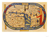 World Map of the Flat Earth Printed by Beatus Rhenanus Bildaus Rheinau  16th Century