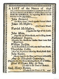 List of Boston Merchants to Be Boycotted for Importing British Goods  c1770