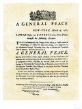 Announcement of Peace Treaty Ending the Revolutionary War  Printed in New York City  March 25  1783