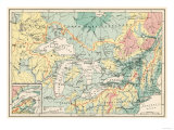 Map of the Great Lakes and the St. Lawrence Watershed Giclée