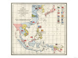 Map of the China Seas, Philippines, and European Colonies in the Region, c.1898 Giclée