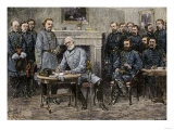 General Robert E Lee Surrendering the Confederate Army to Union General Ulysses S Grant  c1865