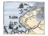Early Map Showing Nova Zembla Off the Arctic Coast of Russia  Probably 1600