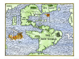 New World Geography According to a Mapmaker of 1540 Giclée