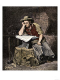 Young Blacksmith Reading a Newspaper  c1800