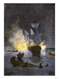 Native Americans Burning a Schooner in the Detroit River at Night during Pontiac's War  c1763-1764
