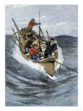 Nantucket Sleigh-Ride in Which a Longboat Is Pulled by a Harpoon Line Lodged in a Whale