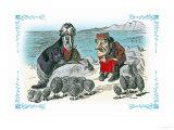 Through the Looking Glass: Walrus, Carpenter and Oysters Reproduction d'art par John Tenniel