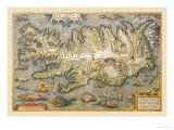 Map of Iceland Reproduction d'art par Abraham Ortelius