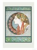 Woman's Profile Reproduction d'art par Alphonse Mucha