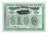 Atchison  Topeka and Santa Fe Stock Certificate