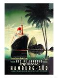Croisière de Hamburg vers Rio de Janeiro sur le paquebot Cap Arcona - Affiche vintage de la compagnie Hamburg-Süd Reproduction d'art
