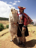 Portrait of a Peruvian Girl in Traditional Dress  with an Animal  Near Cuzco  Peru  South America