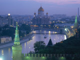 City Skyline and the Moskva River at Dusk  Moscow  Russia