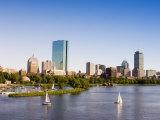 City Skyline and Charles River  Boston  Massachusetts  USA