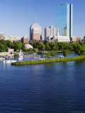 The John Hancock Tower and City Skyline Across the Charles River  Boston  Massachusetts  USA