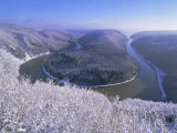 The Saar Valley Near Mettlach  in Winter  Saarland  Germany  Europe