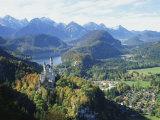Neuschwanstein and Hohenschwangau Castles  Alpsee and Tannheimer Alps  Allgau  Bavaria  Germany