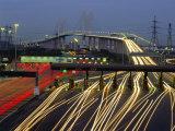 Tollgates on Queen Elizabeth Bridge at Night  M25  Dartford  Kent  England  UK  Europe