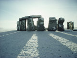 Stonehenge  Unesco World Heritage Site  in Winter Snow  Wiltshire  England  United Kingdom  Europe
