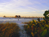 Naples  Florida  USA Sunset at the Beach and Pier