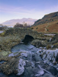 Ashness Bridge and Frozen Beck  Lake District National Park  Cumbria  England  UK  Europe