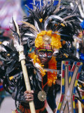 Portrait of a Boy in Costume and Facial Paint  Mardi Gras  Dinagyang  Island of Panay  Philippines