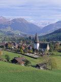 Saanen Village Church in Foreground  Switzerland