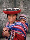Portrait of a Local Woman in Traditional Dress  Carrying Her Baby on Her Back  Near Cuzco  Peru