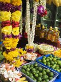 Stall Selling Fruit and Flower Garlands for Temple Offerings  Southeast Asia