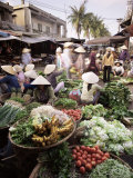 Women in Conical Hats Selling Fruit and Vegetables in Busy Central Market  Hoi An  Central Vietnam