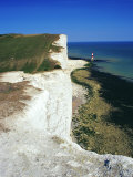 Lighthouse and Chalk Cliffs of Beachy Head Near Eastbourne from the South Downs Way  East Sussex
