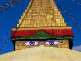Buddhist Stupa, Bodnath (Bodhnath) (Boudhanath), Kathmandu Valley, Nepal, Asia Papier Photo par Bruno Morandi