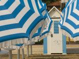 Umbrellas and Beach Hut  Jesolo  Venetian Lagoon  Veneto  Italy  Europe