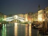 The Grand Canal and Rialto Bridge at Dusk  Venice  Unesco World Heritage Site  Veneto  Italy