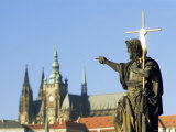 Statue of St John the Baptist  Dating from 1857  on Charles Bridge  Prague  Czech Republic
