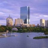 City Skyline at Sunset  Boston  Massachusetts  New England  USA