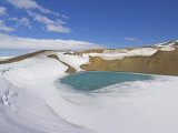 Snow Covered Frozen Viti (Hell) Crater Near Krafla Power Plant  Iceland  Polar Regions