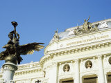 Statue and Detail of Facade of Bratislava's Neo-Baroque Slovak National Theatre  Slovakia  Europe