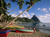 Fishing Boats at Soufriere with the Pitons in the Background  West Indies  Caribbean