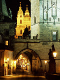 Romanesque and Gothic Malostranske Bridge Towers  Prague  Czech Republic