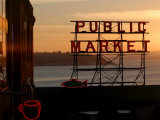 Pike Place Market and Puget Sound  Seattle  Washington State