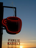 Neon Sign for Coffee  Post Alley  Seattle  Washington State  USA