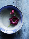 Small Blue Bowl  Two Flowers