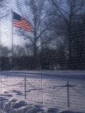 American Flag Reflected in the Vietnam Memorial  Washington  DC